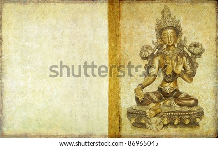 earthy background and design element with buddha - stock photo