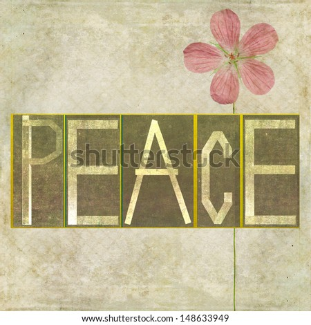 """Earthy background image and design element depicting the word """"Peace"""" - stock photo"""