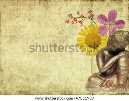 earthy background image with buddha and floral elements - stock photo