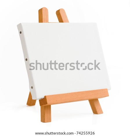 easel for artist. tripod for painting with empty canvas. - stock photo