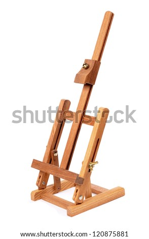 easel for painting. tripod for painting without canvas. standing on a white background - stock photo