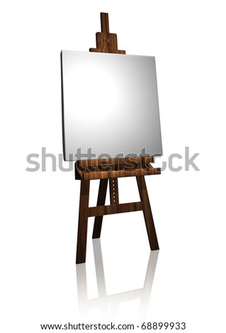 easel illustration with canvas in white - stock photo