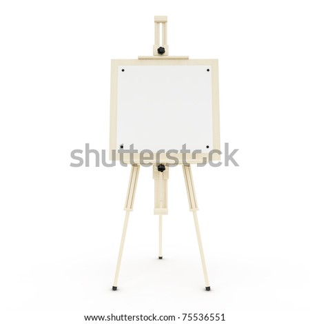 easel on the white background - stock photo