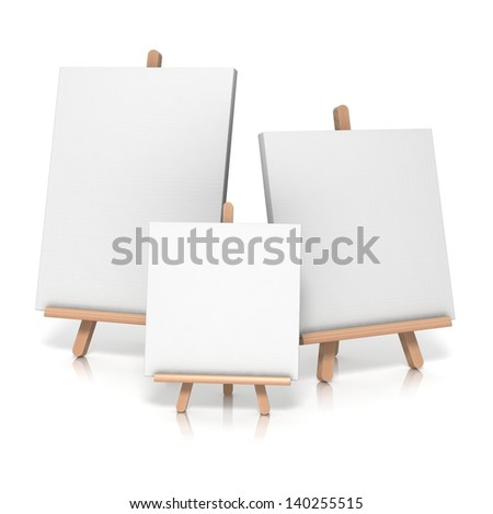easel on white background if empty canvas