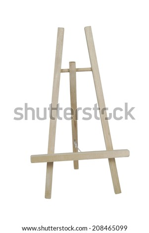Easel used to hold artwork or painting for display or while creating - path included - stock photo
