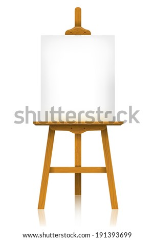 Easel with a blank canvas - stock photo