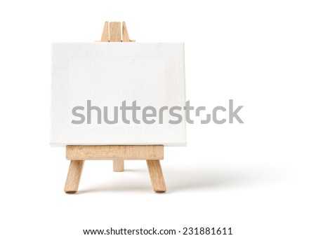 Easel with a blank canvas on a white background