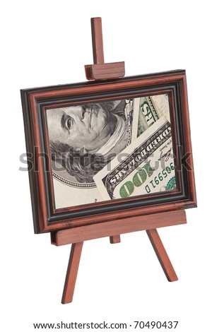 Easel with an image of dollars on a white background
