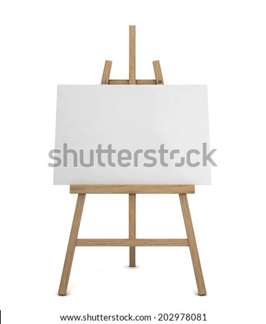 Easel with blank canvas. 3d illustration isolated on white background  - stock photo