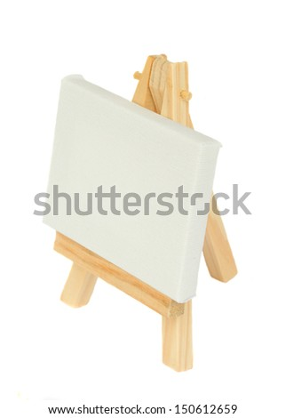 easel with blank canvas isolated on white background