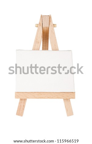 Easel with canvas isolated on a white background - stock photo
