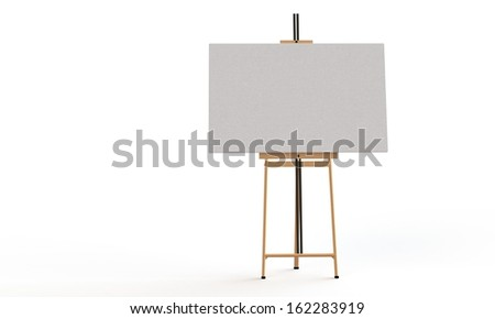 Easel with canvas isolated on white - stock photo