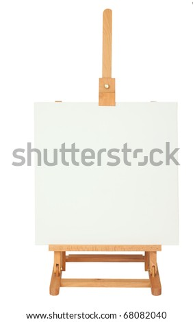 Easel with empty frame for your text or image, isolated on background