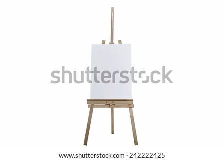 Easel with vertical canvas - stock photo
