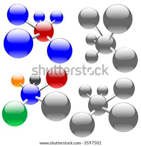 Easily edited , clean, isolated abstract molecules, or sets of networks & nodes. - stock photo