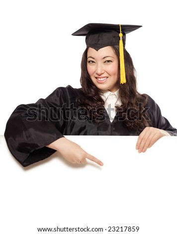 Easily expandable copy space that is pointed at by a graduating woman