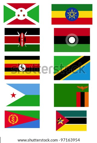 East Africa flags.