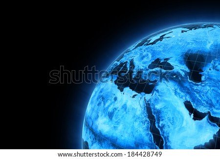 East and Africa globe view. Elements of this image furnished by NASA. - stock photo