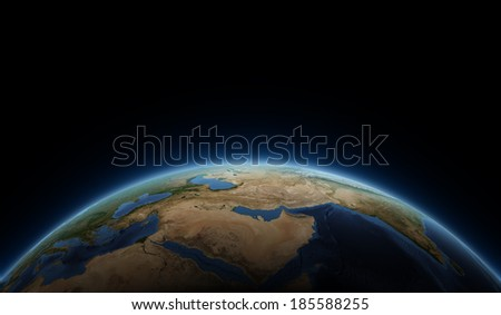 East and Africa globe view. Elements of this image furnished by NASA. 2 - stock photo