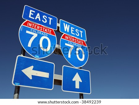 East and west Colorado interstate 70 signs, copy space - stock photo