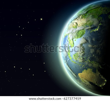 East Asia and Australia from Earth's orbit. 3D illustration with detailed planet surface, atmosphere and city lights. Elements of this image furnished by NASA.