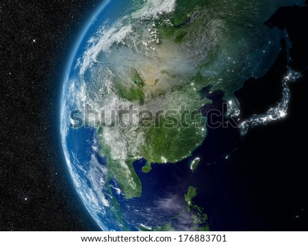 East Asia from space. Elements of this image furnished by NASA. - stock photo