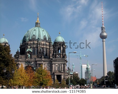 East Berlin cathedral with East Berlin Television tower in background - stock photo