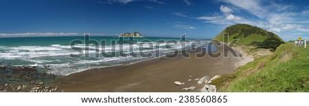 East Cape, panoramic photo, New Zealand - stock photo