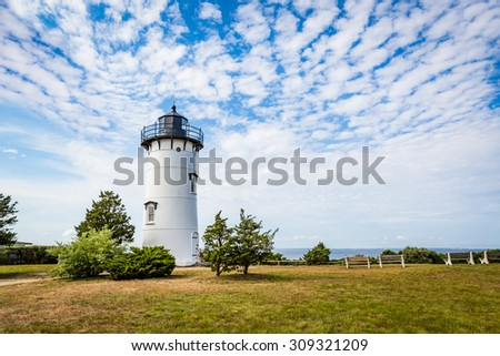 East Chop Lighthouse with dramatic clouds in Martha's Vineyard - stock photo