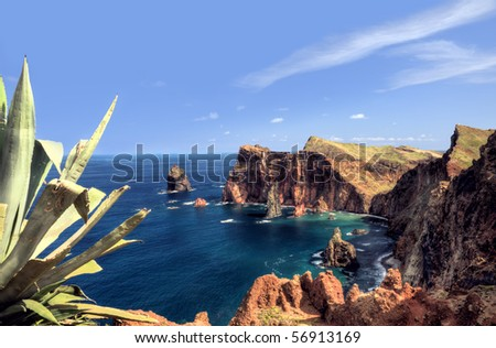 East  coast of Madeira island - Ponta de Sao Lourenco - stock photo