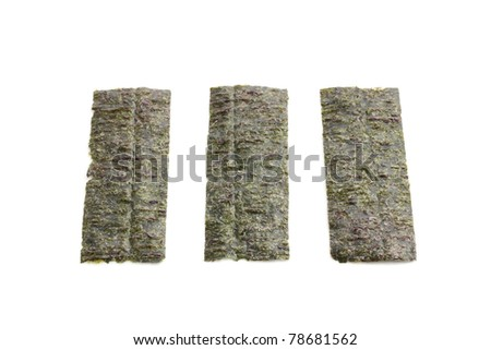 East cooking - nori for rolls isolated on white background - stock photo