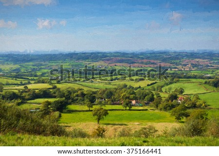 East Devon countryside view from East Hill Blackdown Hills near Ottery St Mary an Area of Outstanding Natural Beauty illustration like oil painting