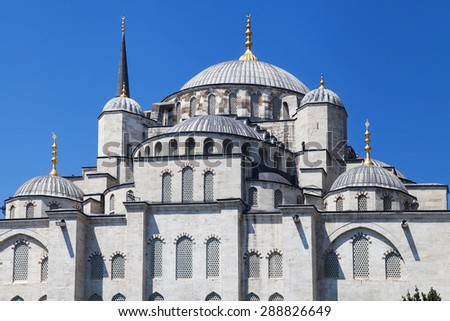 East facade of the Blue Mosque in Istanbul, Turkey. - stock photo