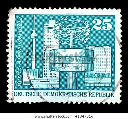 EAST GERMANY - CIRCA 1980: A stamp printed in East Germany shows image of the Alexanderplatz in Berlin, series, circa 1980