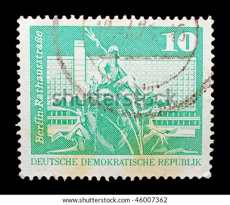 EAST GERMANY - CIRCA 1979: A stamp shows RathausstraÃ?e (Town Hall Street) in Berlin, circa 1979