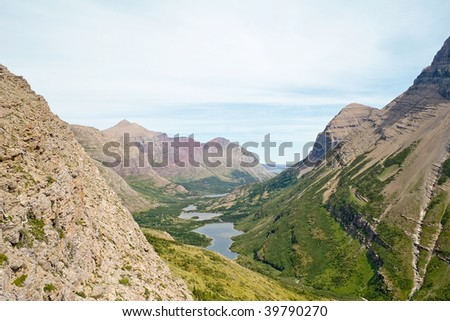 East Glacier from Swiftcurrent Pass at Glacier National Park - stock photo