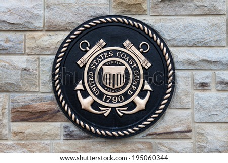 EAST HANOVER, PA - APRIL 5: Bronze plaque for the United States Coast Guard at the entrance of Indiantown Gap National Cemetery on April 5, 2014 in East Hanover, PA