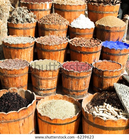 East market, sale of spices - stock photo