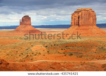 East Mitten and Merrick Butte - Monument Valley, Utah - stock photo