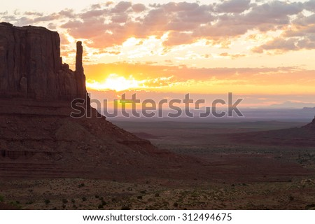 East Mitten Butte in Monument Valley at sunrise.
