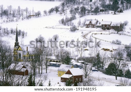 East Orange, VT covered in snow during winter - stock photo