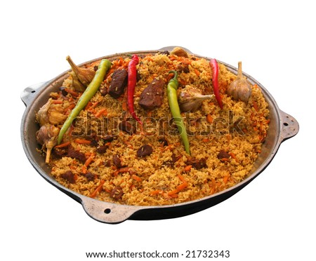 East pilaw with hot spices on a white background - stock photo