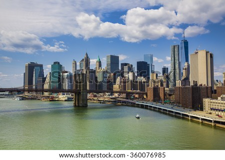 East River, Brooklyn Bridge, and Financial District, New York