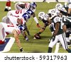 EAST RUTHERFORD, NJ - AUGUST 16: New York Jets players play against the New York Giants at MetLife Stadium on August 16, 2010 in East Rutherford, New Jersey. - stock photo