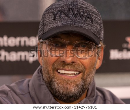East Rutherford, NJ - July 25, 2018: Jurgen Klopp manager of Liverpool FC attends ICC game against Manchester City at MetLife stadium Liverpool won 2 - 1