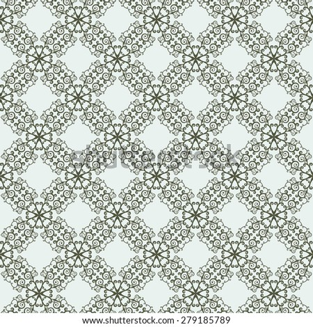 East seamless two-tone pattern with curls. Pastiche of traditional Chinese ornament. Rasterized version. - stock photo
