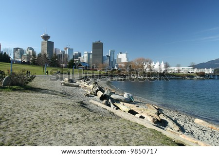 East-side Beach With Vancouver Looming in the Background