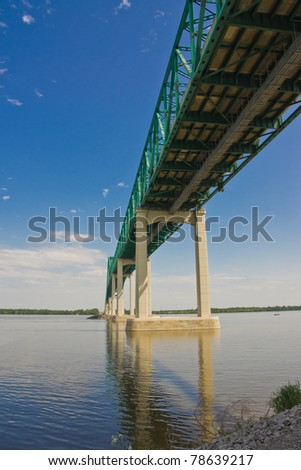 East side of the structure of the Laviolette Bridge in Trois-Rivieres, Quebec Canada - stock photo
