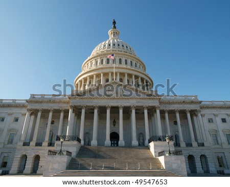 East side of the United States Capitol Building in Washington DC. - stock photo