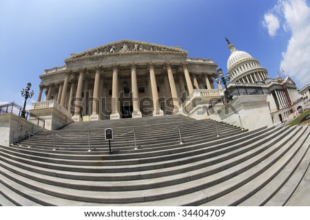 East side view (fisheye) of the United States Capitol building, Washington, DC. - stock photo